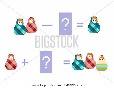 Cartoon illustration of mathematical addition and subtraction. Examples with cute russian dolls - matrioshka. Educational game for children. Vector image.
