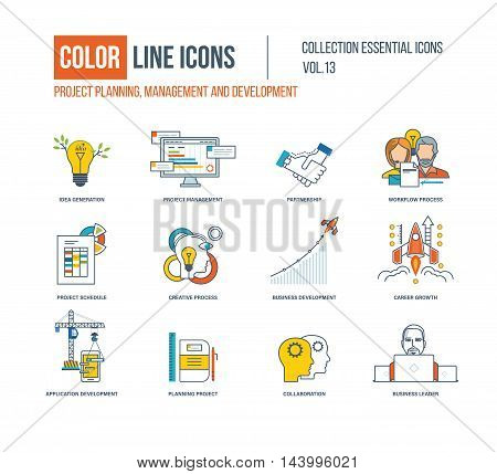 Color Line icons collection. Project management, partnership, workflow process, creative process, business development, career growth, application development, collaboration business leader