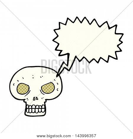 freehand drawn comic book speech bubble cartoon skull