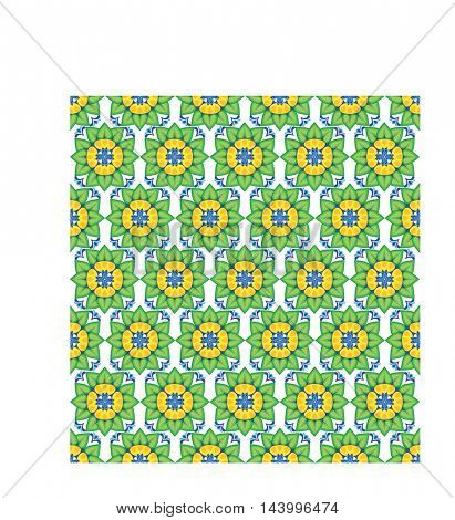 seamless pattern of flowers and leaves water lily on white background