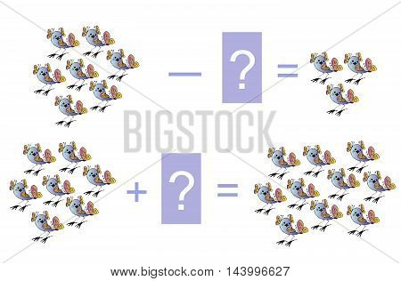 Educational game for children. Cartoon illustration of mathematical addition and subtraction. Examples with birds. Vector image.