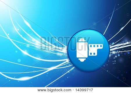 Reel Button on Blue Abstract Light Background Original Illustration