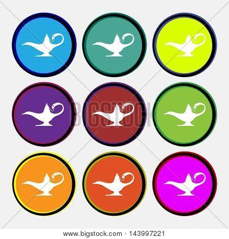Alladin Lamp Genie Icon Sign. Nine Multi Colored Round Buttons. Vector