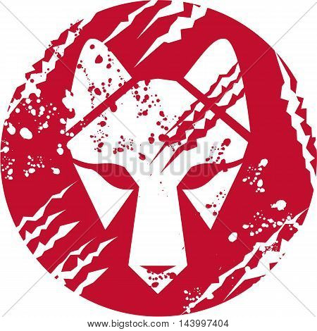 Illustration of a wolf head set inside circle done in retro style.
