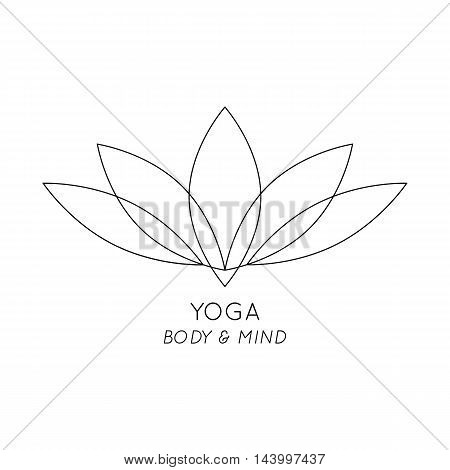 Yoga Body and Mind isolated Lotus vector logo