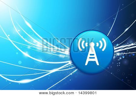 Radio Tower Button on Blue Abstract Light Background Original Illustration