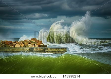 Big Wave During the Storm on the Black Sea