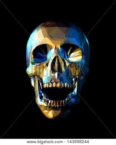 Low poly gold skull with blue reflection light on dark background