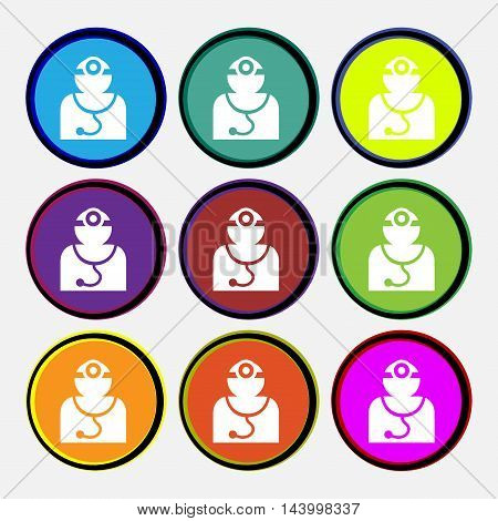 Doctor With Stethoscope Around His Neck Icon Sign. Nine Multi Colored Round Buttons. Vector