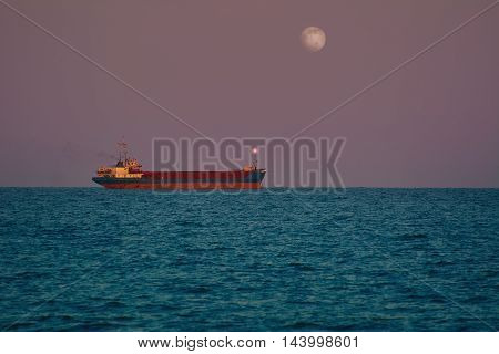 Cargo Ship in the Black Sea at the evening