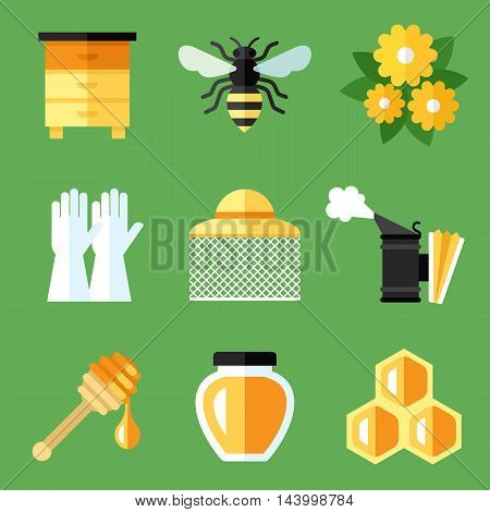Vector set of beekeeping apiary icons. Flat style. Eps 10.