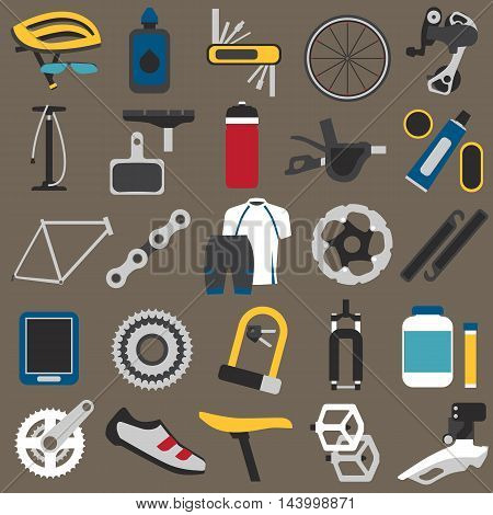 Big icons set of bicycle components parts and accessories. Flat style EPS 8.
