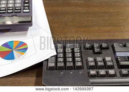 Keyboard, Calculator And Report Paper On Vintage Office Wooden Desk With Selective Focus