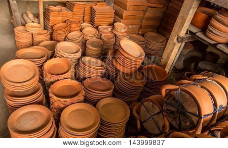 Group of Earthenware in Bangkok, Earthenware texture Background.