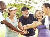 Group Of Senior Retirement Exercising Togetherness Concept poster