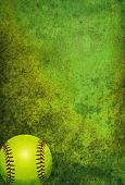 Textured Softball Background With Ball poster