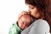 stock photo of premature  - photo of newborn baby on mothers hand - JPG