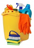 picture of house cleaning  - Bucket with cleaning supplies - JPG