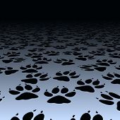 stock photo of paw-print  - Editable vector design of dog paw prints on a floor - JPG