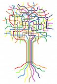 Editable vector subway map in shape of a tree with easy to change line thickness and colors