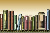 stock photo of book-shelf  - Editable vector illustration of books on a shelf in woodcut style - JPG