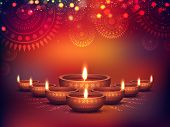 Elegant Illuminated Oil Lit Lamps, Beautiful Traditional Festive floral Background, Glowing Ornament poster