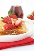 picture of french toast  - French toast with strawberries and maple syrup - JPG