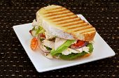 Toasted sandwich with chicken, avocado, red onion, cherry tomatoes, lettuce, and fetta cheese.
