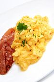 picture of scrambled eggs  - Breakfast of creamy scrambled eggs and bacon - JPG