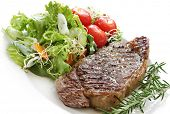 image of porterhouse steak  - Grilled steak with salad - JPG