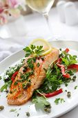 image of rocket salad  - Grilled Atlantic salmon with a rocket salad - JPG