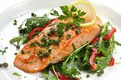 picture of rocket salad  - Atlantic salmon with a rocket salad - JPG