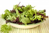 Bowl of mixed salad leaves, over white background.