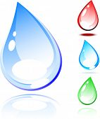 Four water drops. Vector illustration.