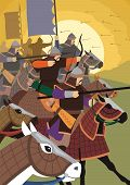 stock photo of mongol  - The Golden Horde attacks.