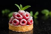 Raspberry Tart Dessert On Dark Background. Traditional French Sweet Pastry. Delicious, Appetizing, H poster