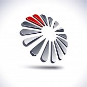 Abstract modern 3d dandelion emblem. Vector.