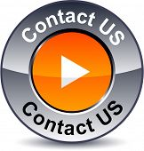 Contact us round metallic button. Vector.