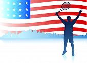 pic of the united states america  - Tennis Players with United States Flag Background Original Vector Illustration - JPG