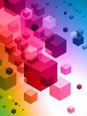 3D Cubes auf farbigen abstrakten Hintergrund-original illustration