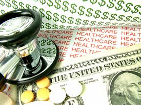 picture of health-care  - Concept of the cost of health care and medical expenses in the United States with one dollar bill and pills - JPG