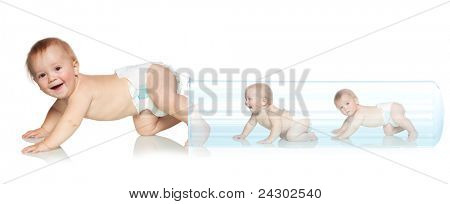 Baby getting out of the tube. Artificial Insemination. In Vitro Fertilization