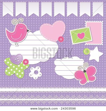 set of scrapbook elements
