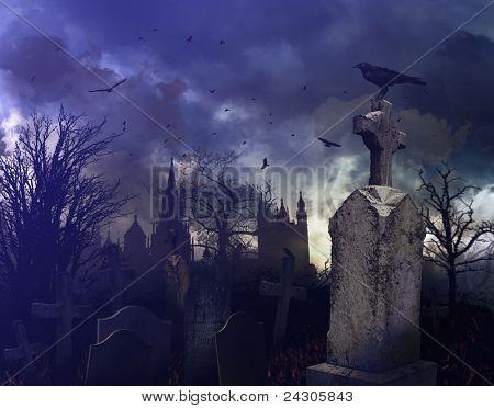 Cena de noite de Halloween em um cemitério assustador