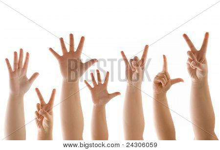 Hand And Finder Gestures On White