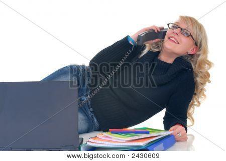 Teenager Student On Phone