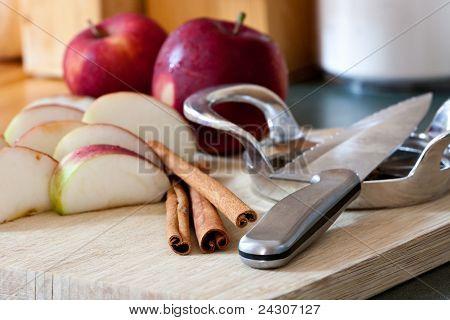 Apple Slices And Cinnamon Sticks