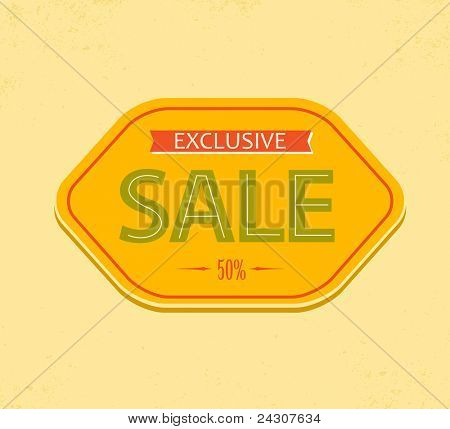 Old retro vector vintage sale label - red, yellow and green
