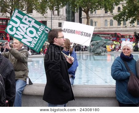 LONDON - OCT 8:  crowds attend the anti war demonstration, marking the 10th year of the Afghanistan war, in Trafalgar square, London, oct 8, 2011.