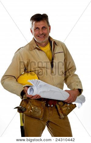 Male Construction Worker Wearing A Tool Belt Is Holding A Hardhat And Blue Prints.